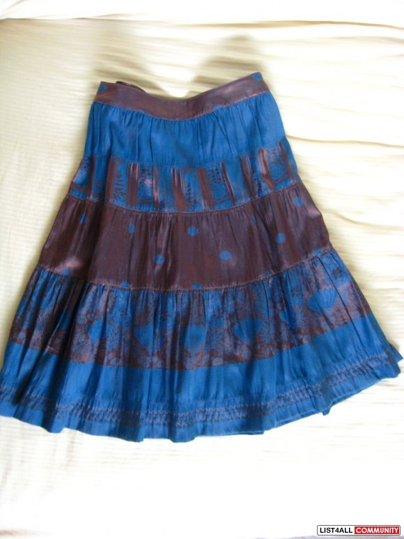 Size4 URBAN OUTFITTER Turquoise bohemian flared skirt