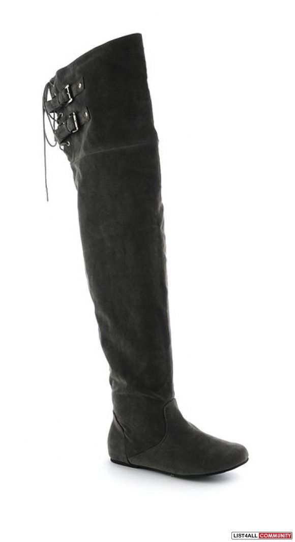 Size7.5 Grey Suede Thigh-High Flat Boots (Never worn w/ tags)