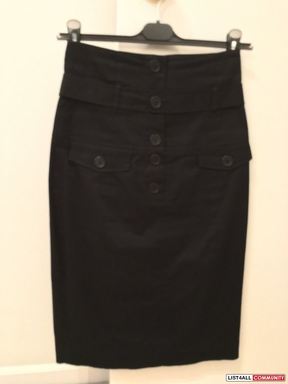 Size2 BEDO high-waist mid-length black pencil skirt