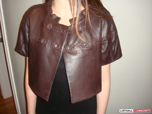 Brand new with tags: BCBG brown leather jacket size small