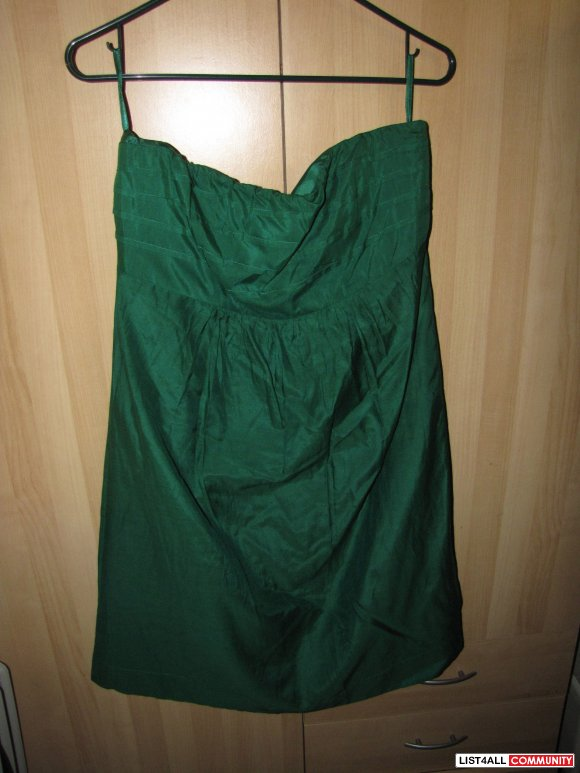 Banana Republic Strapless Green Dress size 10P
