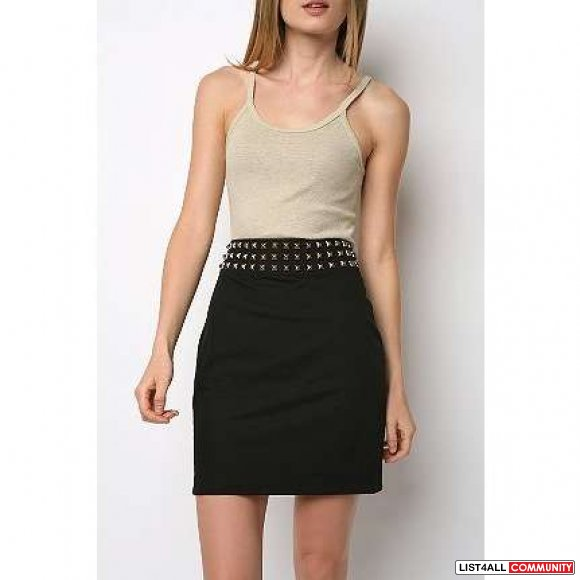 Urban Outfitters Silence & Noise Black High Waist Stud Skirt (4)