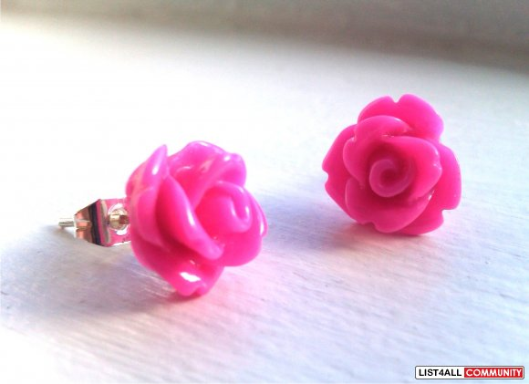 Fuchsia Rose Earrings - 30 Colors To Choose From!