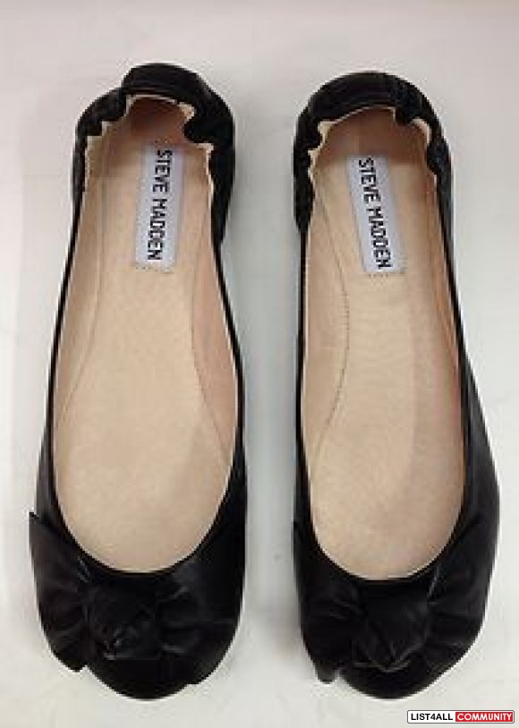 Steve Madden Black Leather Bow Flats - Size 7