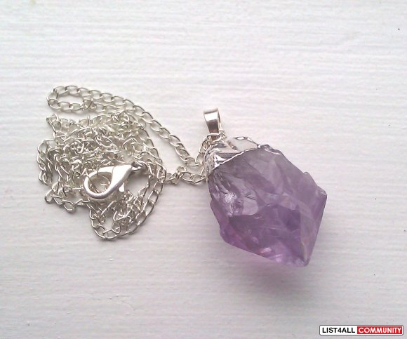 Silver Capped Amethyst Pendant Necklace