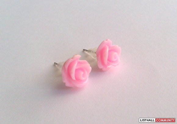 Pink Rose Earrings - 30 Colors To Choose From!