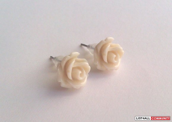Cream Rose Earrings - 30 Colors To Choose From!