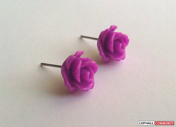 Orchid Rose Earrings - 30 Colors To Choose From!
