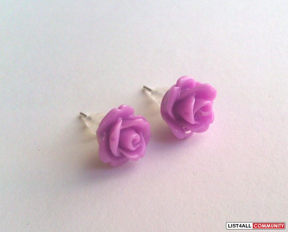 Lilac Rose Earrings - 30 Colors To Choose From!