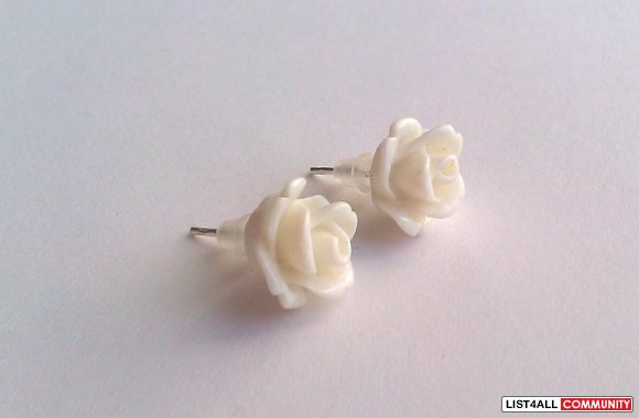 White Rose Earrings - 30 Colors To Choose From!