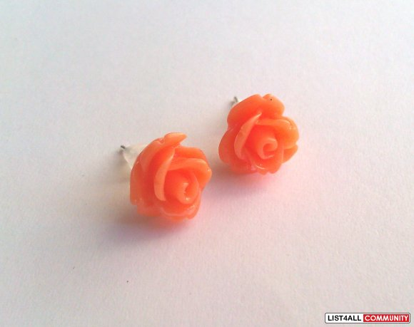 Orange Rose Earrings - 30 Colors To Choose From!