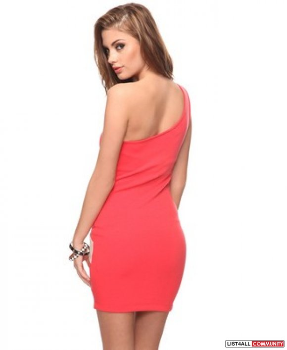 BN Forever 21 Coral & Taupe One Shoulder Bodycon Dress (S)
