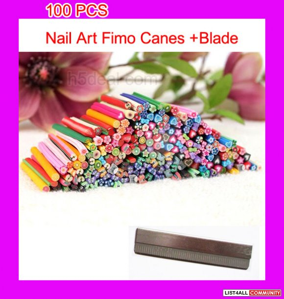 3d nail art fimo canes rods decoration 100pcs blade l