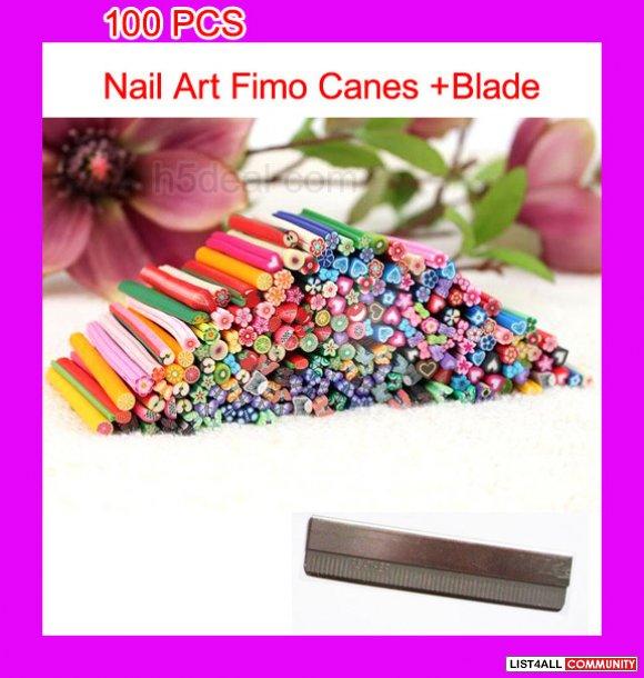 3d nail art fimo canes rods decoration 100pcs blade l For3d Nail Art Fimo Canes Rods Decoration