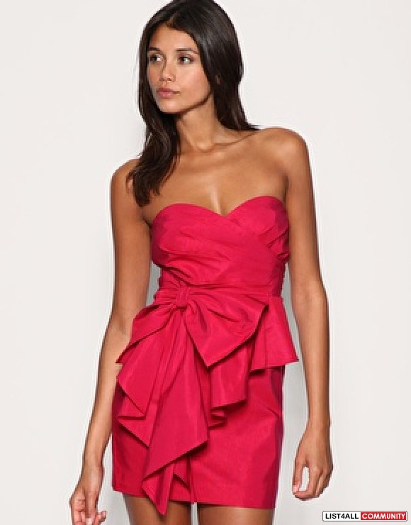 asos bow front bandeau dress