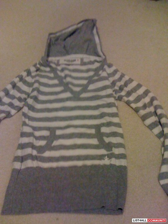 Gray and white stripe sweater
