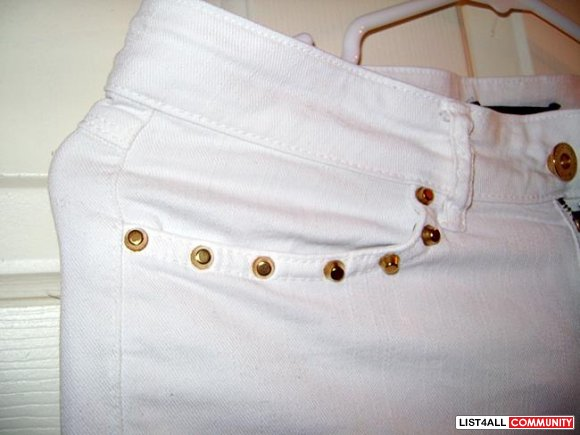 ZARA studded denim jeans with ankle zippers