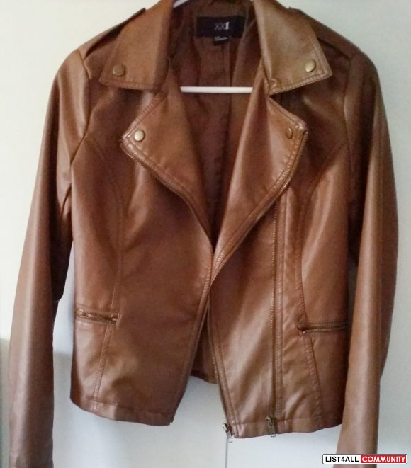 brown Forever 21 leather jacket - size s
