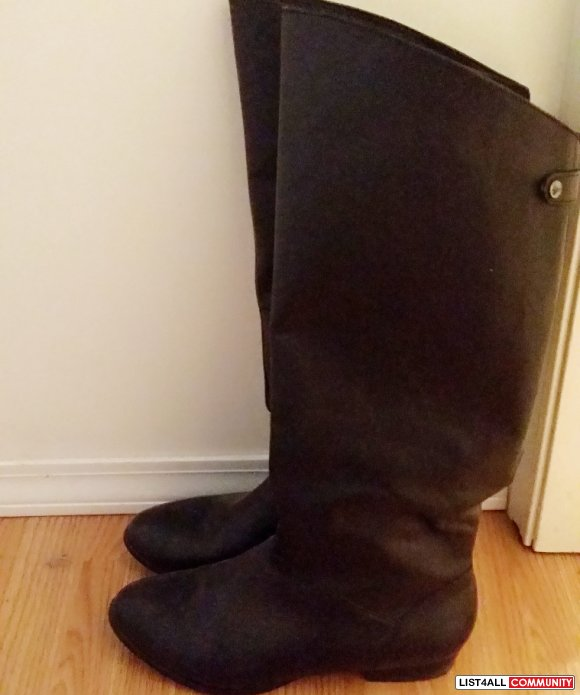 Aldo black leather knee high boots - size 6