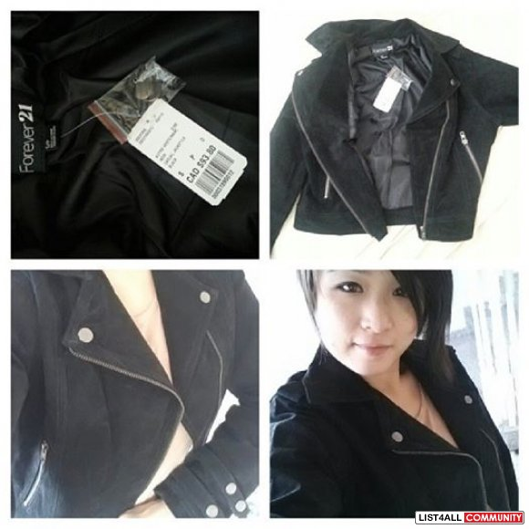 BNWT Forever 21 Black Real Suede Moto Leather Jacket
