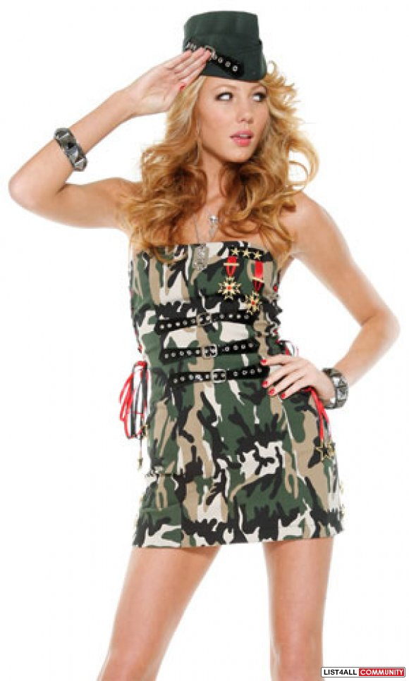 Flirty Soldier Military Halloween Costume xs