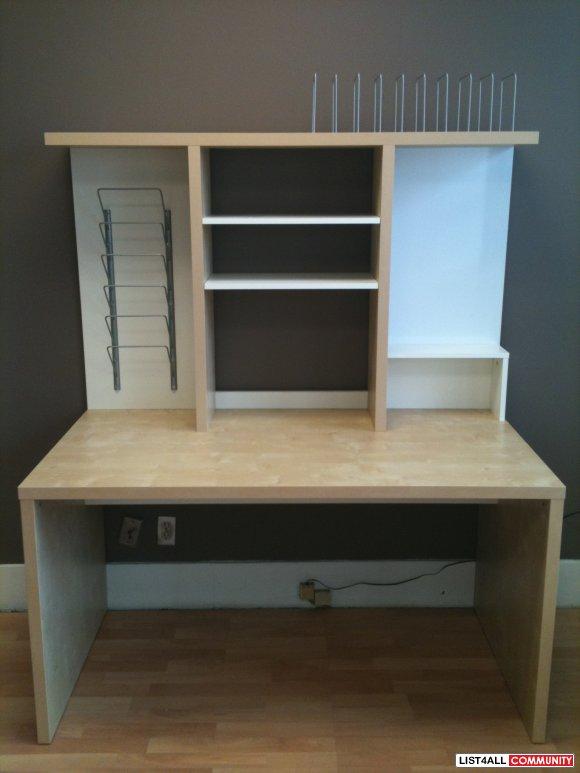 Ikea mikael desk with shelf unit reg 170 50 for Desk hutch organizer ikea