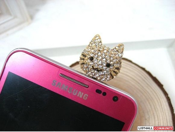 Cat Rhinestone Earphone Plug