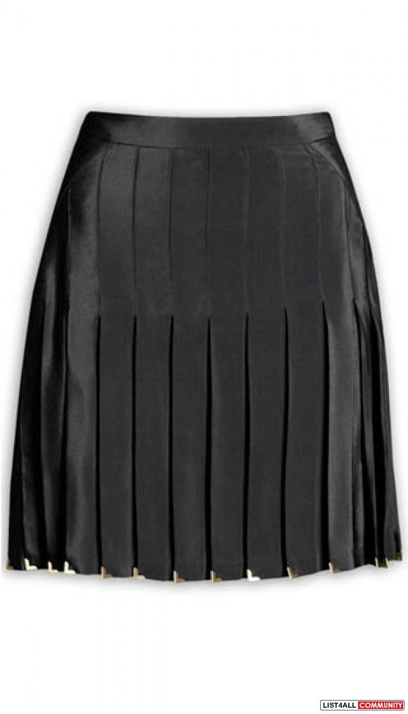 Versace H&M Black Silk Skirt size 4 34 NEW with Gold V Tips Pleated