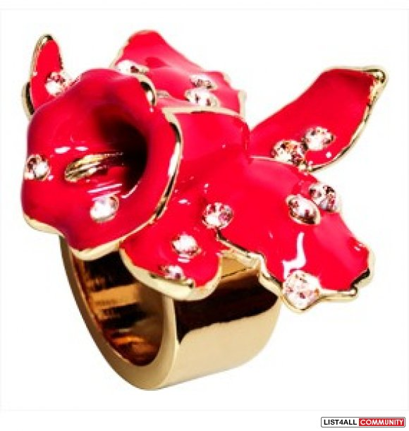 Versace H&M Flower Ring NEW Red Orchid Rhinestone Crystal Gold Tone L