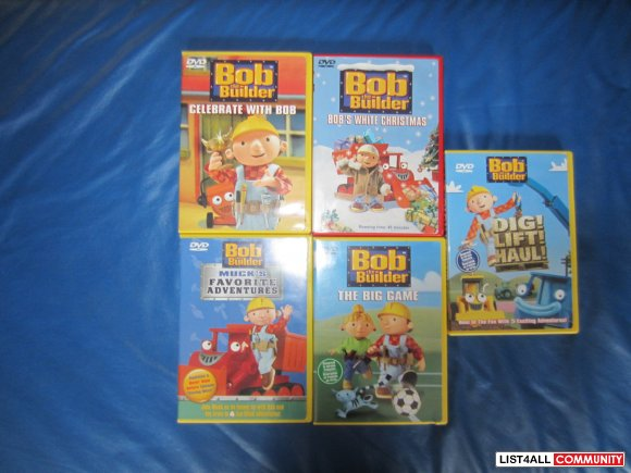 Bob the Builder 5 DVDs $15.00 or $4.00 each