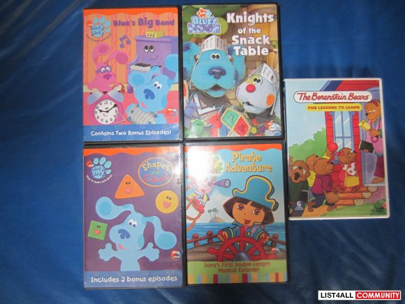 5 DVD's : Blue's Big Band, Blue's Knights of the Snack Table, Blue's C