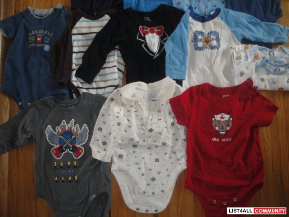 18 Onesies/Diaper shirts Boys sz 6-12m LOT
