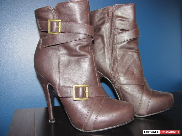 Brown Boots with Buckles Size 6