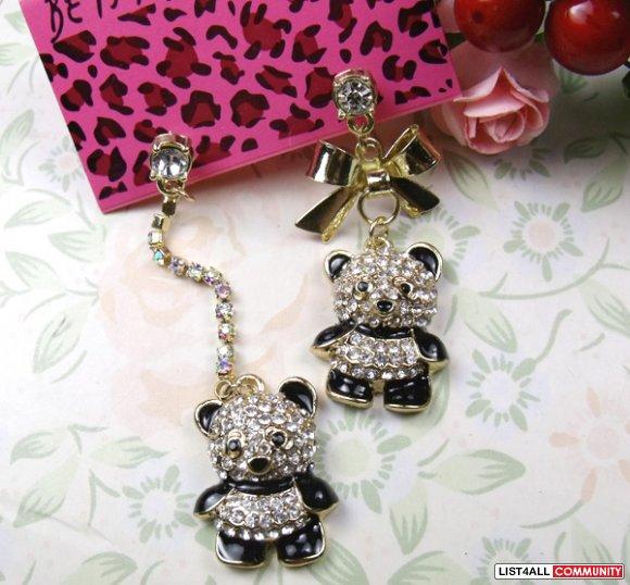 new betsey johnson earrings panda flower2011 list4all