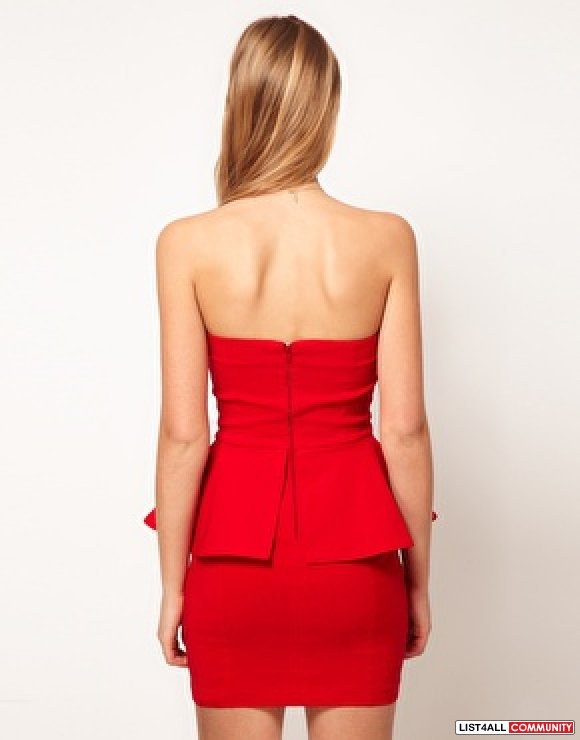 SOLD Asos Peplum Red Dress XS
