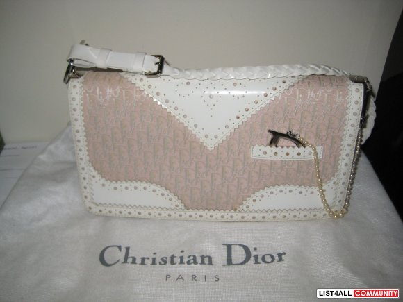 DIOR Pink & White Monogram D'Trick Pearls Purse   SALE $300