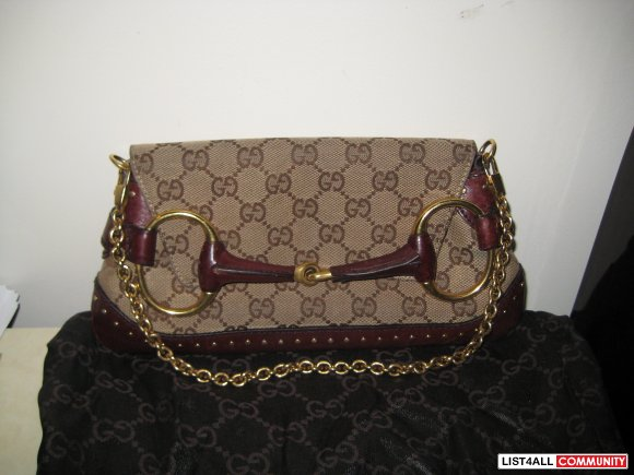 Gucci Horsebit Monogram Clutch  SALE $200