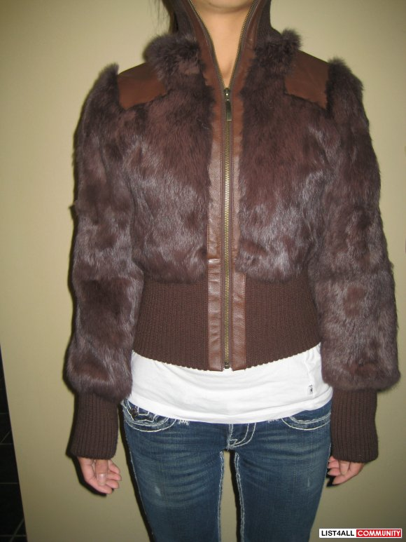 Costa Blanca Rabbit Fur with Leather trim Jacket Sz XS  SALE $30