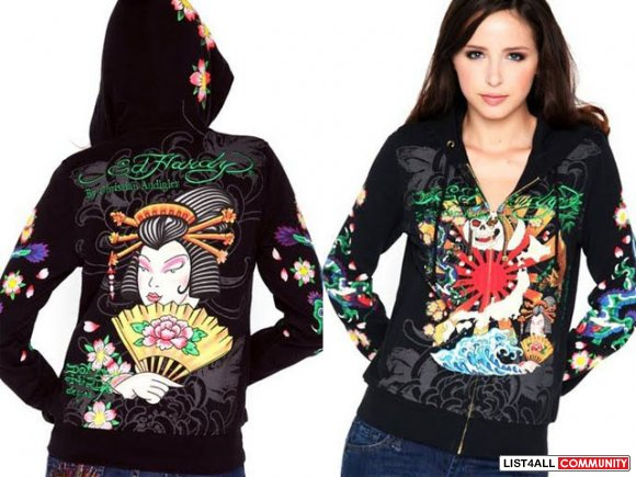 Authentic ed hardy hoodies for women s-xxl