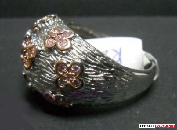 Sterling Silver Ring with Pink CZ Stones