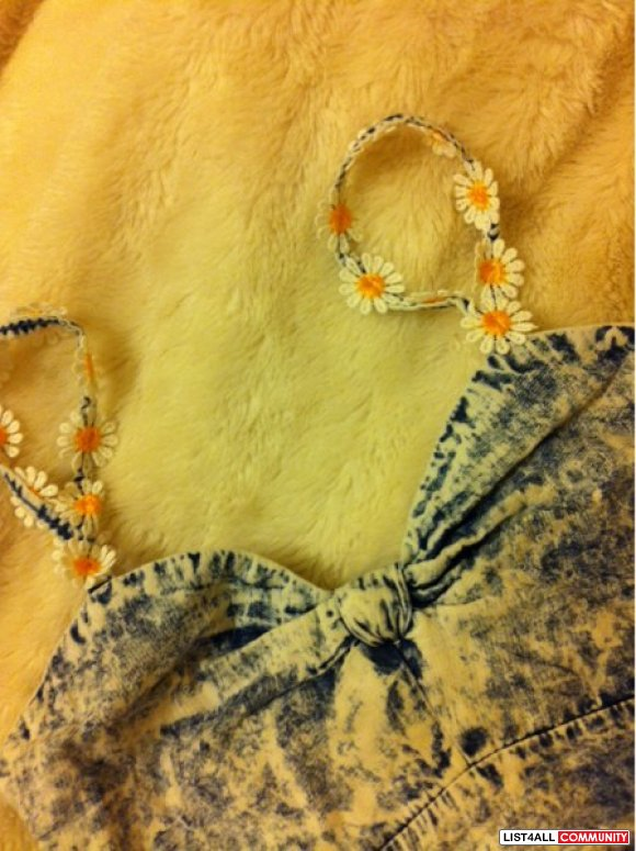 *3 for $20* Denim Daisy Cropped Top/Bralette (Local Boutique) S