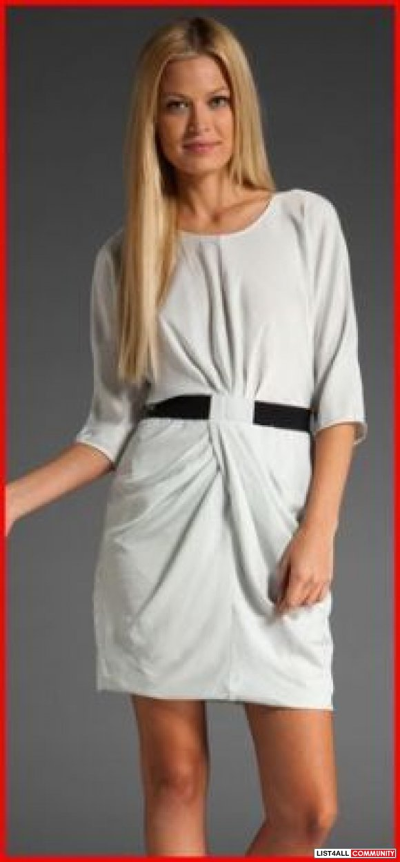 NWT - Sz Small BCBG MAXAZRIA ISELIN LIGHT GREY DRAPED DRESS