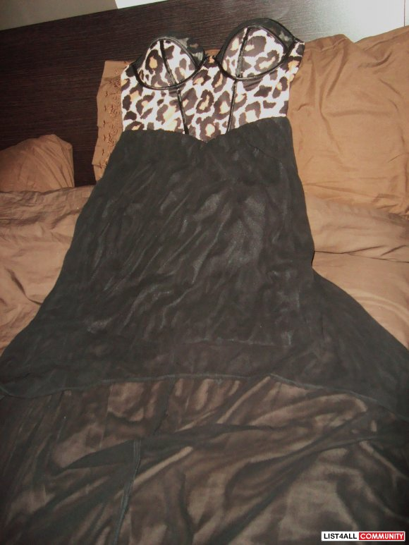 new sexy corset top leopard dress size small