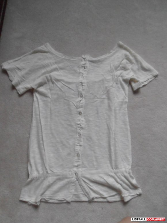 Cream color button-back see-thru short sleeve top $15 for 2 or $10 for