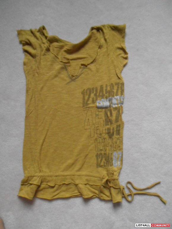 Mustard yellow see-thru short sleeve, tie on waist top $15 for 2 or $1