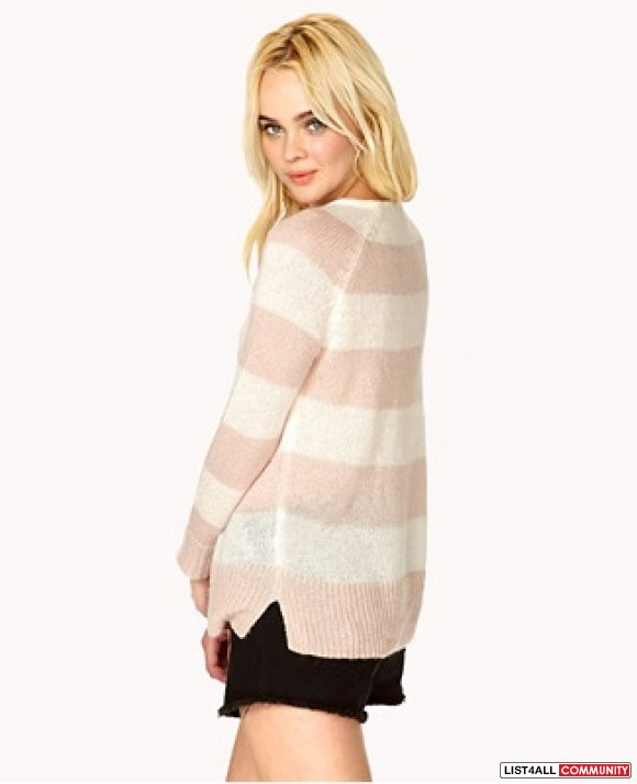 New Forever 21 F21 striped rugby striped pink/cream sweater