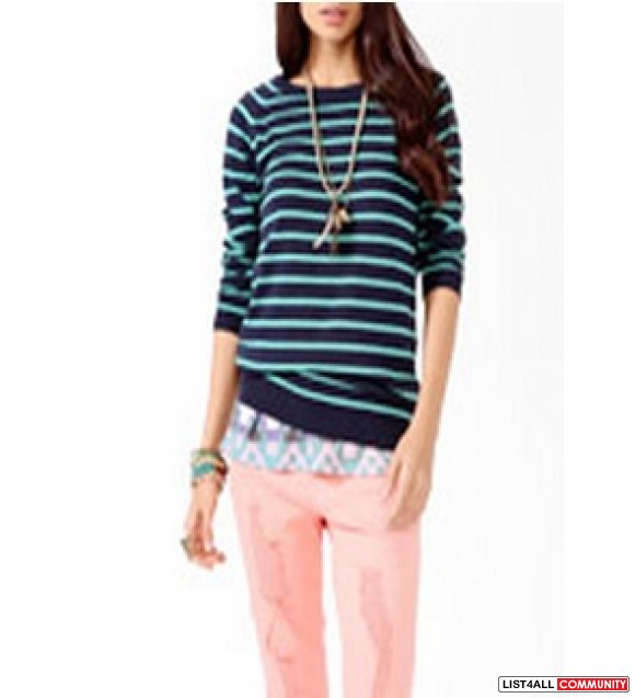 Forever 21 - striped long line sweater - navy aqua - sz small