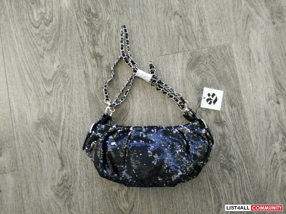 THE BAY - black silver sequins silver chain party purse