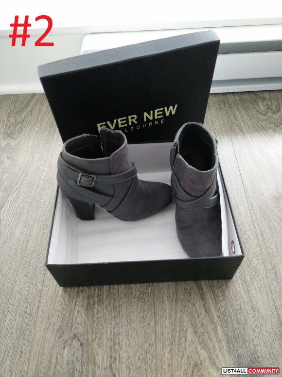 EVER NEW - GREY SUEDE SHORT BOOTS WITH HEEL