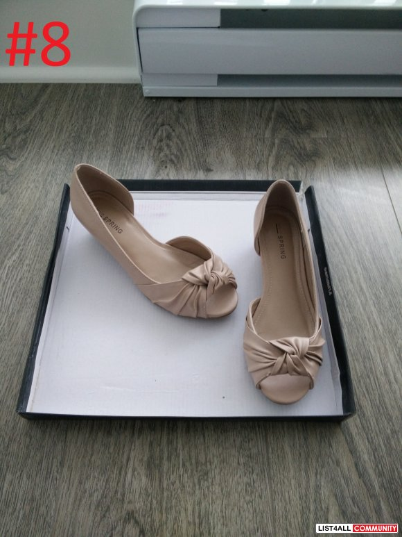 CALL IT SPRING - light pink beige wedge open toe flats